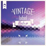 Rétro label de hippie de vintage, typographie, elemen de dessin géométrique Images libres de droits