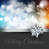 Rétro label de Noël sur le fond brouillé Photos stock