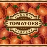 Rétro label de récolte de tomate illustration libre de droits