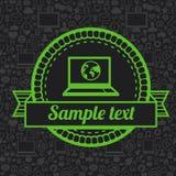 Rétro label de vecteur avec l'icône d'ordinateur portable Images stock