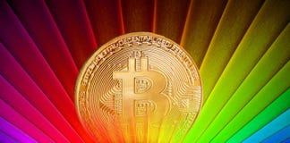 Rétro lever de soleil de Bitcoin photo stock