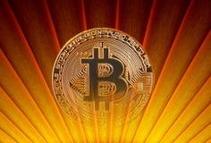 Rétro lever de soleil d'art déco de Bitcoin photos stock