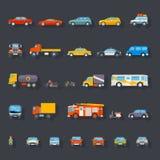 Rétro ligne élégante icônes de voiture réglées d'isolement Images stock