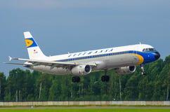 Rétro livrée Lufthansa d'Airbus A321 Russie St Petersburg 10 août 2017 Images libres de droits
