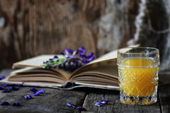 Rétro livre et verre de jus d'orange dans le matin Image libre de droits