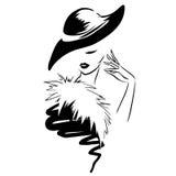 Rétro logo avec la belle femme élégante principale Photo libre de droits