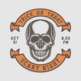 Rétro logo de Halloween de vintage, emblème, insigne, label, marque, patche illustration de vecteur