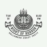 Rétro logo de Halloween de vintage, emblème, insigne, label, marque, patche illustration libre de droits
