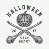 Rétro logo de Halloween de vintage, emblème, insigne, label, marque, patche illustration stock