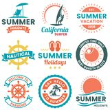 Rétro logo de vecteur d'été pour la bannière Photo stock