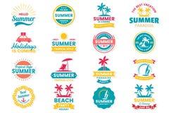 Rétro logo de vecteur d'été pour la bannière Images libres de droits