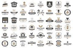 Rétro logo de vecteur de restaurant pour la bannière illustration libre de droits