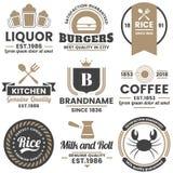 Rétro logo de vecteur de restaurant pour la bannière, affiche illustration stock