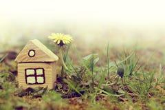 Rétro maison avec une pelouse image stock