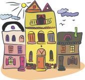 Rétro maisons dans le vecteur illustration de vecteur