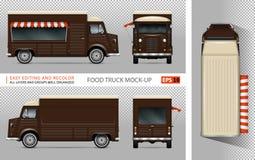 Rétro maquette de vecteur de camion de nourriture Photographie stock libre de droits