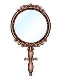 Rétro miroir tenu dans la main antique Photo stock