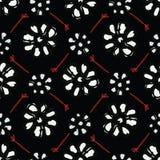 Rétro modèle floral de Bohème noir de vecteur sans couture illustration de vecteur