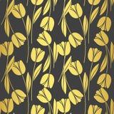 Rétro modèle sans couture abstrait avec des silhouettes des tulipes Fond de conception florale?, contexte, conception de l'illust Images stock