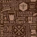 Rétro modèle sans couture dénommé, logo et icônes de miel illustration stock