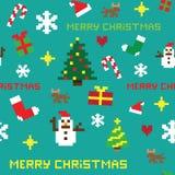 Rétro modèle sans couture de Noël de jeu de pixel illustration libre de droits