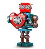 Rétro obot mignon du robot 3d avec le coeur rouge Contient l'agrafe illustration stock