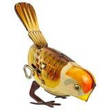 Rétro oiseau de jouet de bidon d'isolement sur le blanc images stock