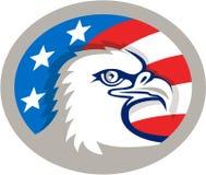 Rétro ovale de drapeau chauve d'Eagle Head Etats-Unis Images stock