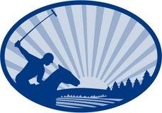 Rétro ovale de ferme de Polo Player Riding Horse Mountain illustration libre de droits