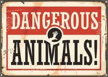 Rétro panneau d'avertissement d'animaux dangereux illustration de vecteur
