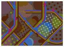 Rétro papier peint de fond de style de vintage Rayures, lignes, points de polka illustration stock