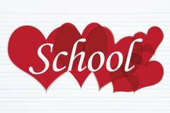 Rétro papier rayé avec l'école des textes avec les coeurs rouges Image libre de droits