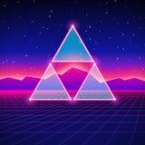 Rétro paysage futuriste dénommé avec des triangles illustration stock
