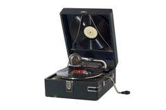 Rétro phonographe de cru d'isolement sur le blanc Photographie stock libre de droits