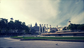 Rétro photo dénommée de Placa De Espanya, Barcelone, Espagne Image libre de droits