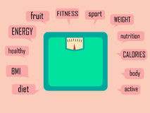 Rétro poids de calcul plat avec la longue ombre et avec beaucoup de mots de motivation Image stock