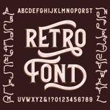 Rétro police d'alphabet avec des remplaçants Lettres, nombres et symboles Image libre de droits