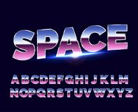 Rétro police d'alphabet brillant de Chrome Style d'avenir de la science fiction 80s Image stock