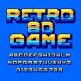 Rétro police d'alphabet de jeu d'ordinateur 80 Lettres et nombres colorés de gradient de pixel illustration de vecteur