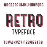 Rétro police de vecteur d'alphabet Type expulsé lettres et nombres illustration de vecteur