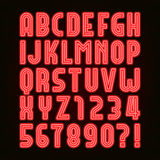 Rétro police rouge d'alphabet de tube au néon Rétro type lettres et nombres illustration stock