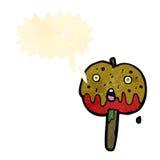 rétro pomme de caramel de bande dessinée avec la bulle de la parole Photos stock