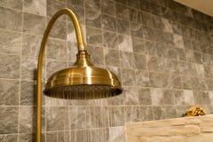 Rétro pommeau de douche en laiton avec le mouvement de l'eau Photographie stock libre de droits