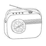 Rétro récepteur portatif par radio Enregistreur de vintage Vect tiré par la main Images stock