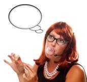 Rétro réceptionniste avec la bulle blanc de pensée photographie stock