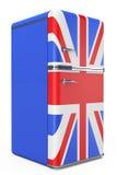 Rétro réfrigérateur avec le drapeau britannique sur la porte illustration de vecteur