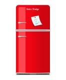 Rétro réfrigérateur rouge avec la note de papier Images libres de droits