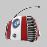 Rétro radio 3d sur le fond gris Photo libre de droits