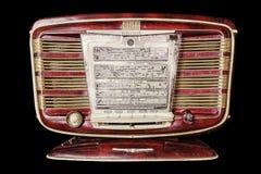 Rétro radio inscriptions de panneau d'affichage dans le Russe : bande de fréquences De photographie stock libre de droits