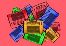 Rétro radios de vieux cru coloré Photo stock
